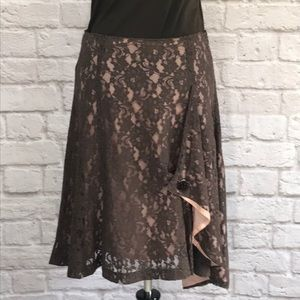 Odille/Anthropologie Brown lace skirt size 6